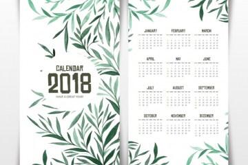 calendario 2018 hojas verdes espanol gratis - Calendario 2018 gratis para imprimir en alta calidad
