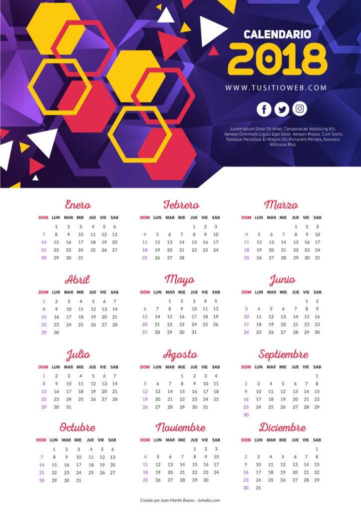 calendario 2018 para empresas 723x1024 - Nuevo Calendario 2018 para descargar e imprimir gratis
