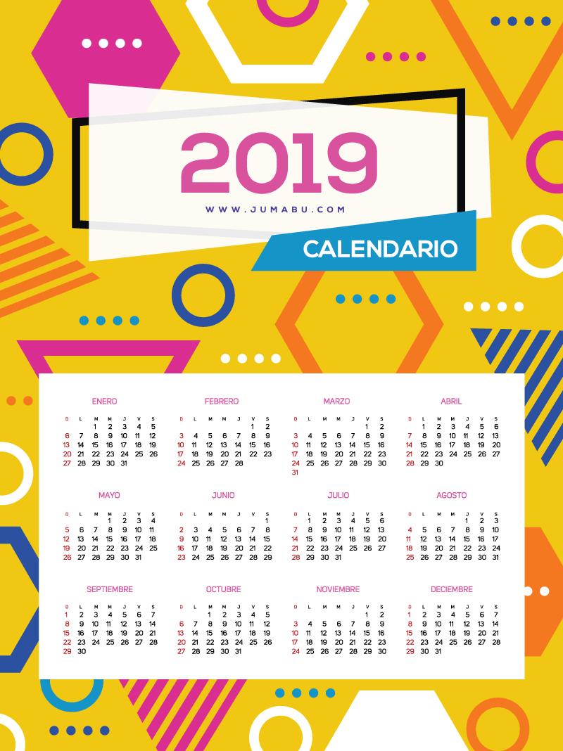 Calendario 2019 en español para descargar gratis e imprimir