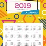 Calendario 2019 en español con estilo memphis style