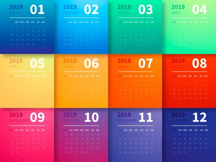 calendario 2019 espanol gratis 1024x768 - Calendario 2019 en español super colorido y gratis