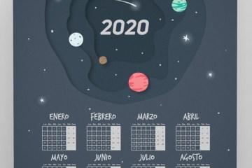 calendario 2020 espanol planetas - Calendario 2020 en español para imprimir