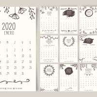 Calendario 2020 en español con estilo vintage