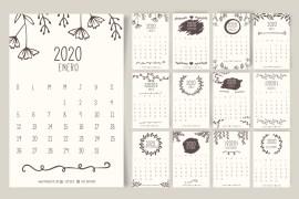 calendario 2020 espanol vintage - Calendario 2020 en español con estilo vintage