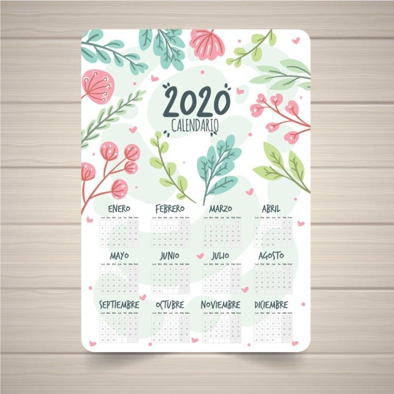 calendario 2020 en español con diseño de flores