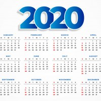 Descarga Calendario 2020 gratuito en vectores