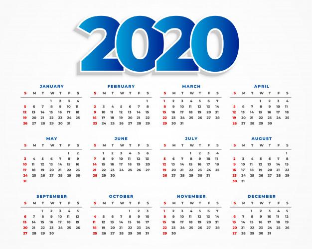 calendario 2020 imprimi - Descarga Calendario 2020 gratuito en vectores