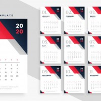 Calendario 2020 en vectores para descargar