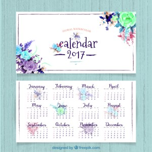 calendario acuarelas 2017 - Descarga gratis un calendario 2017 para imprimir