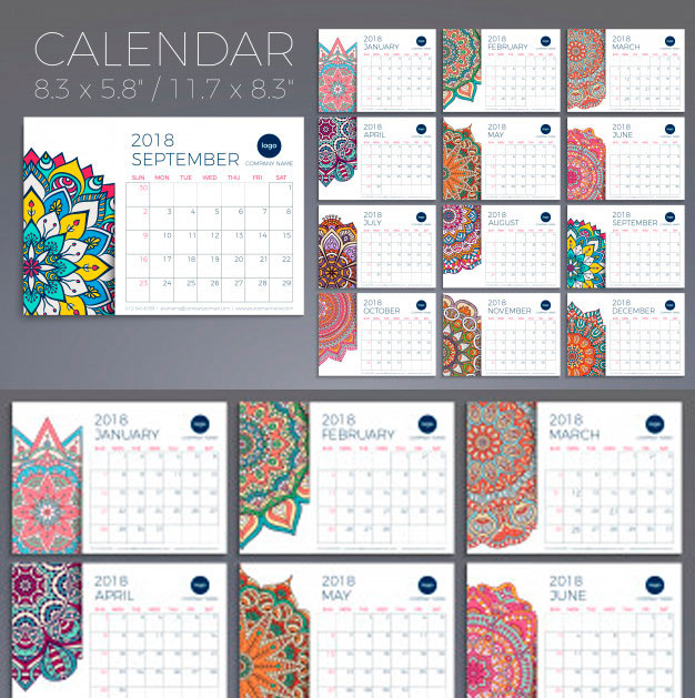 Calendario gratis tipo almanaque del año 2018