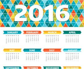 calendario geometrico 2016 - Calendario 2016 en Vectores Geométricos