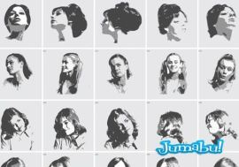 caras de mujeres en vectores - Caras Femeninas Retro en Vectores