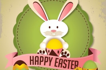 conejo de pascua huevos - Tarjeta Felices Pascuas Vectorizada