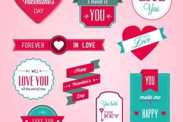 corazones etiquetas labels san valentin - Etiquetas para el Día de los Enamorados en Vectores