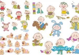 dibujos de bebes en vectores - Dibujos de Bebés Jugando en Vectores