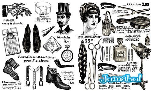 elementos peluqueros antiguos barbero - Tijeras, Cepillos, Material Peluquería Retro en Vectores