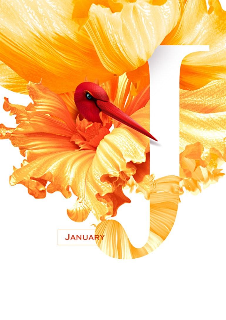 enero 1 - Diseño de Calendario con flores y aves muy original