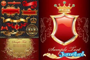 escudos dorados oro ribetes vectoriales vectorizados vectores - Escudos, Etiquetas, Ribbons Dorados en Vectores