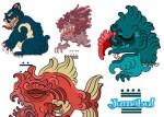 estampas mayas playeras - Estampas para Playeras de Monstruos en Vectores
