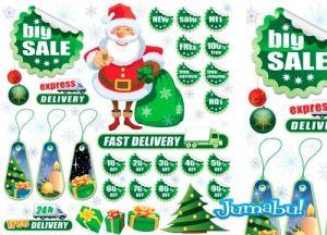 etiquetas descuentos vectores navidad promocion - Etiquetas de Descuentos Navideños en Vectores