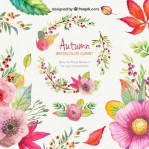 flores ramas acuarelas hojas - Dibujos de flores coloridas con acuarelas