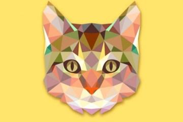 gato vectores descargar gratis - Gato Vectorizado con Textura Poligonal