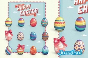 huevos pascuas pintados vectoriales - Dibujos de Huevos de Pascuas Pintados con Colores Pasteles