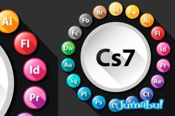 iconos adobe vectoriales - Iconos de los Productos Adobe con Efecto Sombra Larga