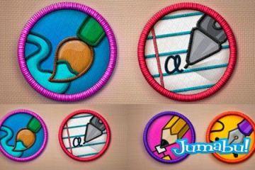 iconos bordados psd - Iconos Bordados en PSD