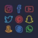 iconos de las redes sociales efecto neon - Descarga Iconos de las redes sociales con efecto luces de neón