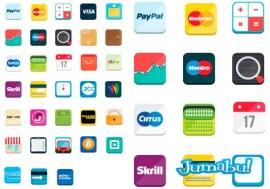iconos de pago vectores - Iconos Planos de Tarjetas de Cédito, Medios de Pago On Line, etc