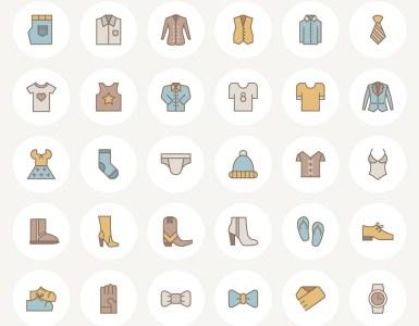 iconos planos vestimenta indumentaria - Set de íconos en vectores de indumentaria con estilo plano - lineal
