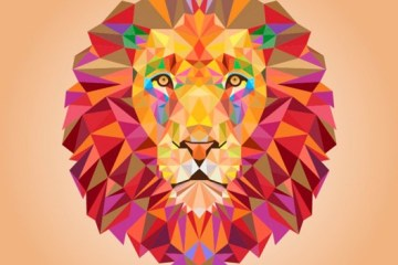 ilustracion geometrica animales - Vectores de León Geométricos