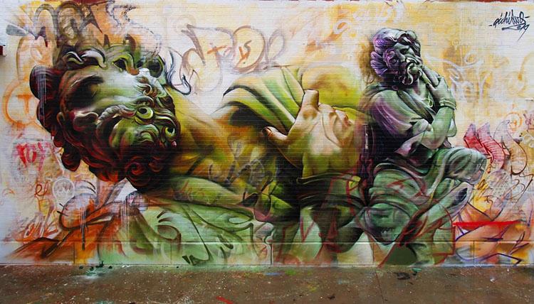 image 3 - Grafitis callejeros con personajes mitológicos