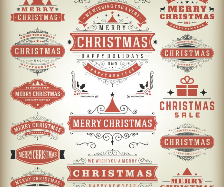 labels ornamentales navidad - Etiquetas para Navidad en Vectores Ornamentales