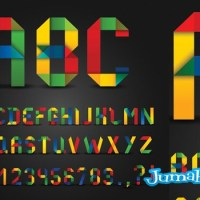 Letras en Vectores Super Coloridas Estilo Origami