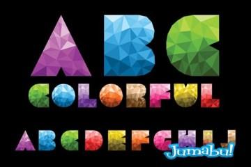 letras papel arrugado diamantes tipografias - Letras Coloridas en Vectores con Efecto Diamante