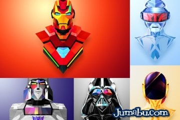 mascaras vectorizadas poligonales - SuperHéroes en Vectores con Texturas Poligonales