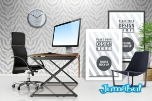 mock up oficinas photoshop - Mock up de Sala de Oficina en PSD