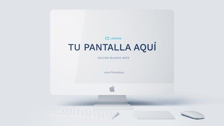 mockup iMac blanco mate - Fantásticos Mockups de distintos dispositivos en color blanco mate