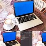 mockup notebook macbookpro 1 - Mockup de notebook sobre una mesa de bar