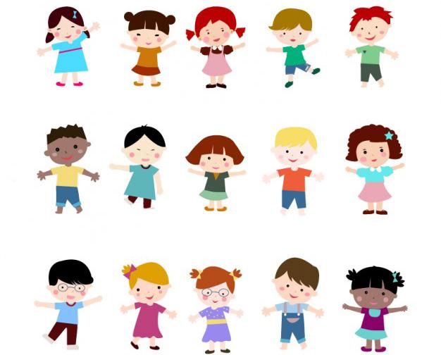 ninos ninas jugando ilustraciones vectoriales - Niños en Vectores con Estilo Plano