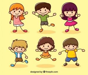 ninos vectoriales diviertiendose - Dibujos de Niños Felices en Vectores