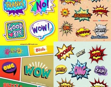 onomatopeyas en vectores - Descarga estos globos de diálogos, onomatopeyas, exclamaciones tipo comic
