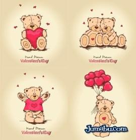 osos corazones vectorizados enamorados - Osos en Vectores para el Día de San Valentín