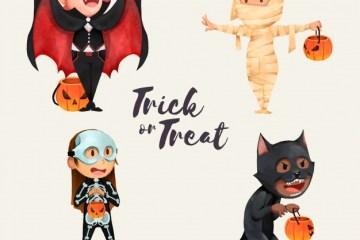 personajes dibujados para halloween - Descarga personajes de halloween en vectores