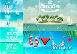playa bikini vector playeras ojotas vectorizadas - Playas, Bikinis y Recursos de Verano en Vectores