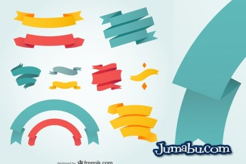 ribbons vectores flat design - Ribbons en Vectores con Estilo Flat y Colores Candy