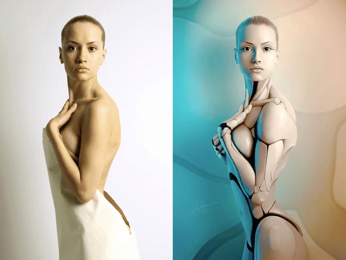 robot antes y despues de photoshop - Mujeres, paisajes, niños, antes y después de aplicarle photoshop!