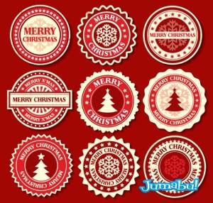 rojas etiquetas navidad - Etiquetas Navideñas en Vectores